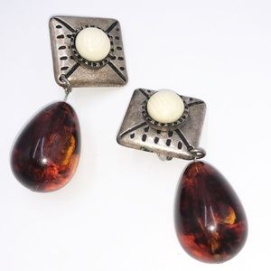 Vintage Clip On Statement Earrings